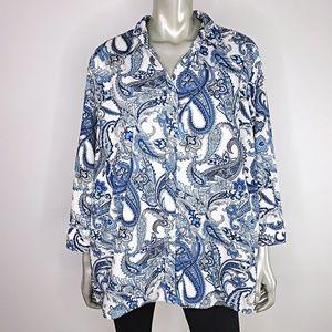 Chaps Womens Paisley Blue Top Plus Size 2X